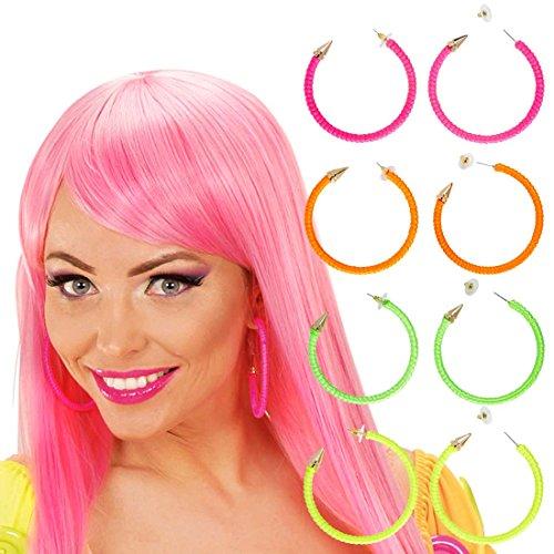 80er Jahre Ohrringe Modeschmuck Creolen neon-grün 80s Damen Schmuck Mode Ohrclips Party Ohrstecker Damenohrringe Kostüm Zubehör (Neon Creolen)