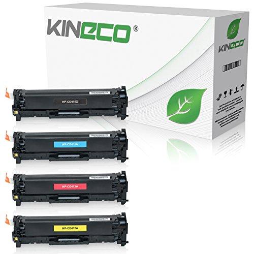 4 Kineco Toner kompatibel zu HP CE410X CE411A CE412A CE413A Laserjet Pro 300 Color M351a MFP M375nw 400 M451dn dw nw M475dn dw - 305A/X - Schwarz 4.000 Seiten, Color je 2.600 Seiten