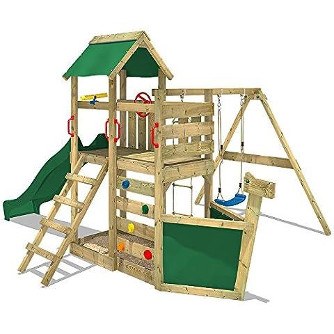 WICKEY Spielturm SeaFlyer Spielgerät Garten Kletterturm mit Schaukel, Rutsche und viel Zubehör, grüne Rutsche + grüne
