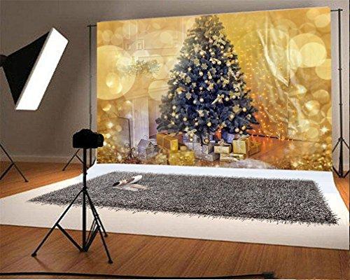YongFoto 1,5x1m Foto Hintergrund Weihnachten Baum Geschenke Ball Shining Lights Vorhang Bokeh Halos Glitter Pailletten Interieur Fotografie Hintergrund Fotoshooting Portrait Party Kinder Fotostudio (Halo-light-fotografie)