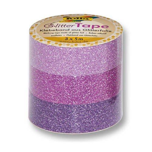 Folia Glitter Tape, rosa, pink, lila, 15 mm x 5 m - Klebeband Glitzerband