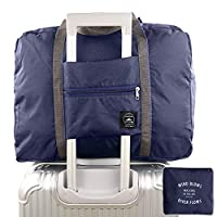 Foldable Travel Duffel Bag,Charminer Waterproof Travel Storage,Sports Gym Overnight Clothes Suitcase Organiser Packing Bag,Water Resistant Nylon Can Attach On The Handle Of Luggage DARK BLUE