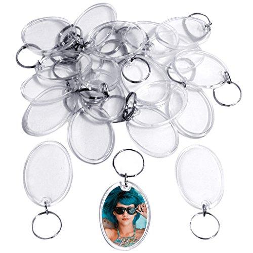 50 Transparente Ovale Acryl Foto Schlüsselanhänger von Kurtzy - 4.5cm Durchmesser - Brieftaschenfreundlicher Schlüsselring für Maßgeschneiderte Personalisierte Bilder - Für Frauen und Männer