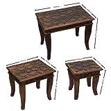 Valentinstag Geschenk, Dekorative rustikale Stil Mango Holz Nisttisch Satz von 3 fur Wohnzimmer Schlafzimmer zu Hause decor -