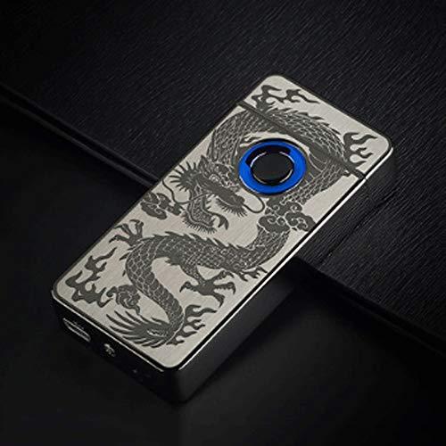 Zenghh Encendedor USB Detección de huellas dactilares Encendedor de cigarrillos de doble arco Carga de inducción inteligente A prueba de viento Electrónica Personalidad creativa Flor rica Dragón for e