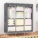 XONIER Collapsible Portable Closet Storage Organizer Wardrobe Clothes Rack with Shelves
