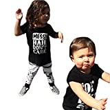 GBSELL Newborn Toddler Infant Baby Letter T-shirt Tops + Pants Set (24M)
