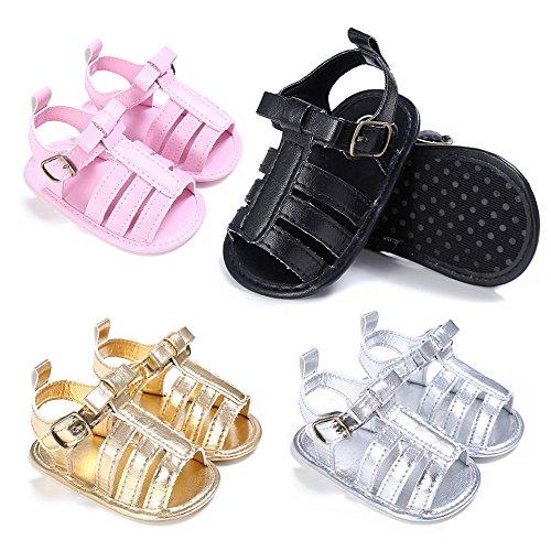 FEITONG Baby Cute Crib Schuhe Soft Prewalker Anti-Rutsch Sandalen Schwarz