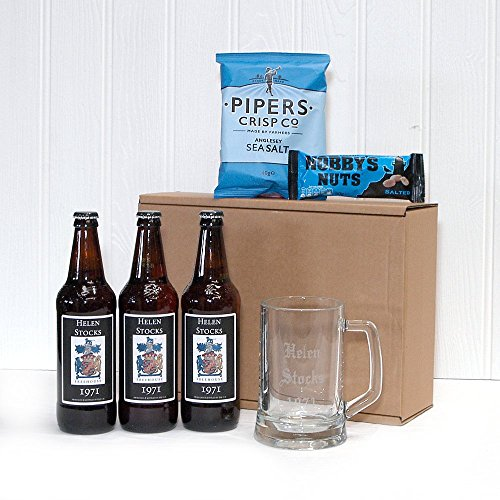 Personalised Trio of Yorkshire Ales with Personalised Labels, Engraved Glass Tankard and Nibbles - Gift Ideas for Christmas presents, Birthday, Anniversary and Congratulations Presents