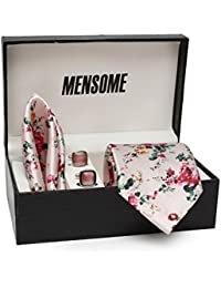 MENSOME Men's Floral Print Necktie with Cufflinks and Pocket Square Gift Set (Multicolour, TCF75, Free Size)