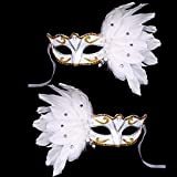 BLEVET 2CS Pluma Mascarada para Halloween Mardi Gras Máscara Disfraces Veneciano Fiesta Máscara MZ002 (White)