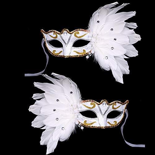 BLEVET 2PCS Venezianische Masquerade Masken mit Federn Augenmaske Federmaske Maskenball Karneval MZ002 (White)