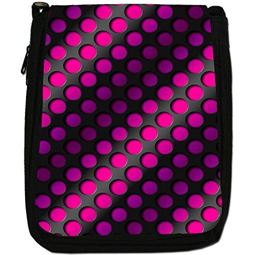 """Design """"Arte astratta 3D"""", colore: nero, Borsa a spalla in tela da uomo, taglia media Nero (Pink Abstract 3D Wave)"""