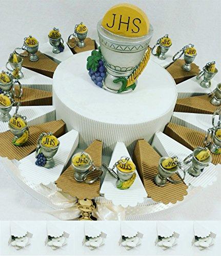 Bomboniere comunione ecomomiche originali torta porta confetti portachiavi calice kkk (torta 20 fette calice portachiavi)