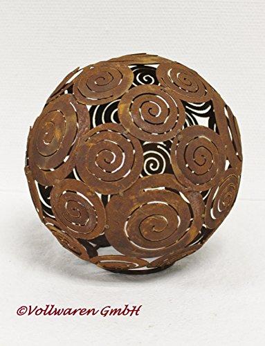 Garten Deko Skulptur KUGEL EISEN ROST PATINA H26 / Ø26 cm / 1,4 kg Spirale Ball Rost Ball