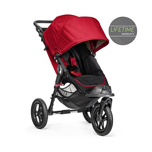 Baby Jogger City Elite Single Stroller Red  Lift one strap and the City Elite folds itself: Simply and compactly, it really is as easy as it sounds and the auto-lock will lock the pushchair for transportation or storage The City Elite offers an array of storage, including a built-in parent console that keeps your most used items at your fingertips, an adjustable handlebar and a hand-operated parking brake keeps all the controls within reach Suitable from birth, the seat reclines to a near flat position with vents and a retractable weather cover plus SPF 50+ hood throws a lot of shade on a sunny day and has a peek-a-boo window with magnetic closure so you can quietly check on your little one 1