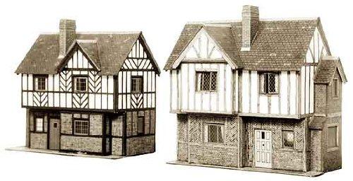 Superquick OO/HO Elizabethan Cottages. Cardboard Kit -