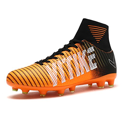 Kid's Junior Men Football Boots Teenager Soccer Athletics Training Shoes Outdoor Sports Sneakers Unisex For Boy Girl Women(Orange EU39)