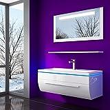 70 cm Weiss Badmöbelset Vormontiert Badezimmermöbel Waschbeckenschrank mit Waschtisch Spiegel mit LED Hochglanz Lackiert Homeline1