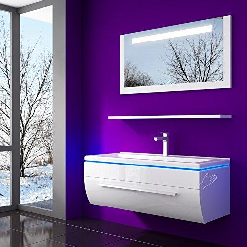 70 cm Weiss Badmöbelset Vormontiert Badezimmermöbel Waschbeckenschrank mit Waschtisch Spiegel mit