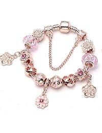 d315614ad4e5 GSYDSZ Pulseras y brazaletes del Encanto de la Flor del Color del Oro Rosa  para Las