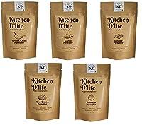 Kitchen D'lite Pack of 5 - Red Onion Powder 40g, Garlic Powder 40g, Ginger Powder 40g, Green Chilli Powder 40g & Toamto Powder 40g