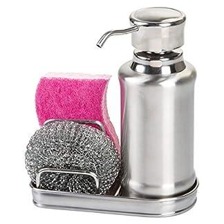 517VL8aRp0L. SS324  - mDesign - Dispensador de jabón líquido Recargable - Dosificador de jabón de Acero Inoxidable Pulido - Dispensador de jabón de Manos con Soporte para esponjas y estropajos - Estropajo Incluido Gratis