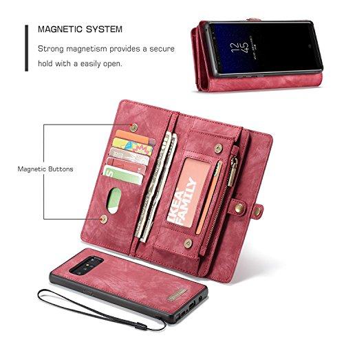 Haoweiwei Für Samsung Galaxy Note 8 Luxus handgefertigte Trifold Leder Brieftasche Fall mit abnehmbaren Rückendeckel & Magnetverschluss & Card Slot & Zipper & Landyard (Color : Red) -