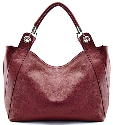 OH MY BAG Sac à Main en CUIR femme porté main, épaule et bandoulière Modèle Paris rouge foncé - SOLDES