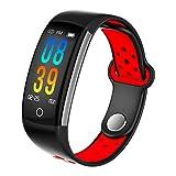 TYWZF Fitness Tracker Smart Tracker Pulsmesser Bluetooth IP68 Wasserdicht Müdigkeitsüberwachung Gesunde Schlafüberwachung Für Ios Android Phone,Red