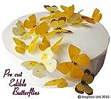24 x Vorgeschnittene schöne gelbe Schmetterlinge essbares Reispapier/Oblatenpapier Kuchendekoration, Dekoration für Cupcake Kuchen Dessert, für Geburtstag Party Hochzeit Babyparty (M)