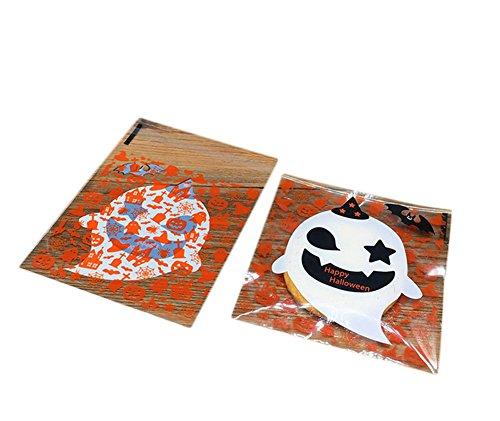 100x Milopon Cellophan Taschen Cellophantüte Gebäcktüten Selbstklebende mit Halloween Muster OPP Kunststoff Tasche für Bäckerei, Süßigkeit, Seife, Plätzchen (Geist) (Cellophan Halloween)