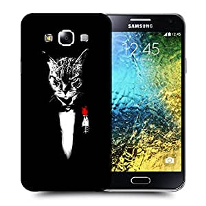 Snoogg Angry Cat Designer Protective Back Case Cover For SAMSUNG GALAXY E5