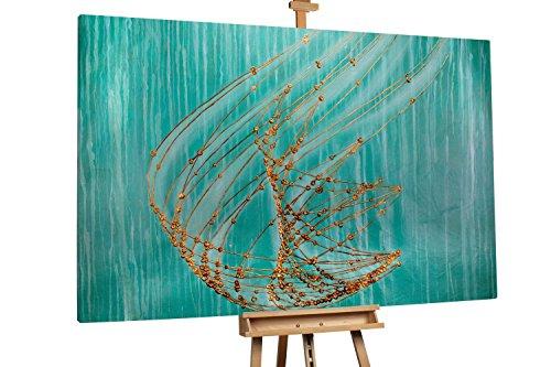 'Nautilus' 180x120cm | Abstrakt Türkis Weiß Deko | Modernes Kunst Ölbild
