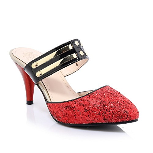 Adee Mesdames couleurs assorties paillettes Pompes Chaussures Rouge - rouge