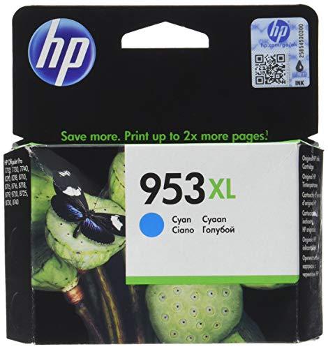 HP 953XL - Cartucho de tinta para impresoras (alto, compatible con OfficeJet Pro 8210/8218/8710 AiO/8715 AiO), cian