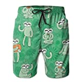 Men's Quick Dry Swim Trunks with Cute Sloths Hand Drawn Style Element for Gift Wrap Wallpaper And Colorful Beach Shorts with Mesh Lining