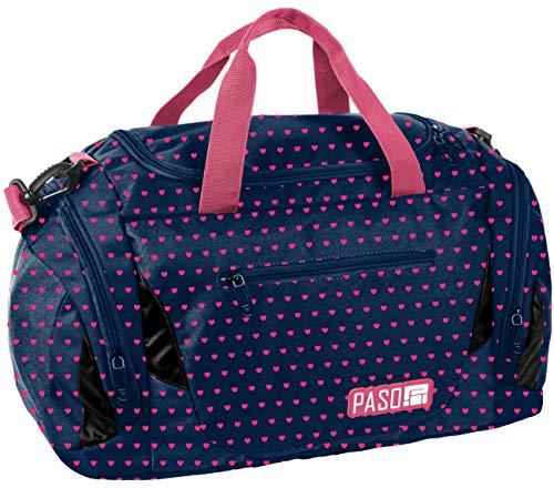 Sporttasche Reisetasche Mädchen Jungen Damen Sauna Tasche Sport Schul Weekender (Blau Herz)