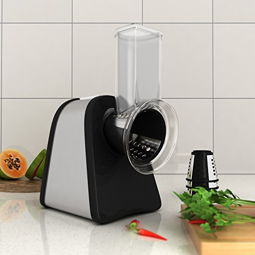 Meykey Electric Spiralizer Salad Maker Food Grater Slicer/Electric Graters/Chopper with 4 Cone Blades, 150W - Black