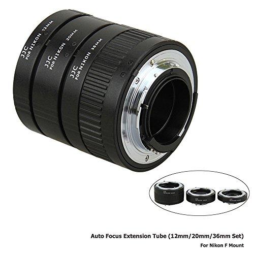 JJC 12mm/20mm/36mm Sets Metal Tubo de Extensión TTL Enfoque Automático AF para Objetivos Nikon F-Mount y Cámaras DSLR