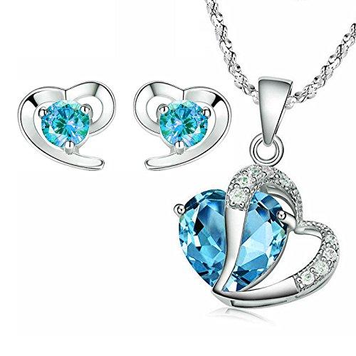 Kim Johanson Damen Schmuckset *Türkis Herz* Silber Halskette mit Anhänger & Ohrringe mit Zirkonia Steinchen besetzt inkl. Schmuckbeutel