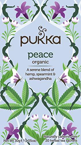 Pukka Peace, Organic Herbal Tea with Hemp & Ashwagandha (4 Pack, 80 Tea Bags)