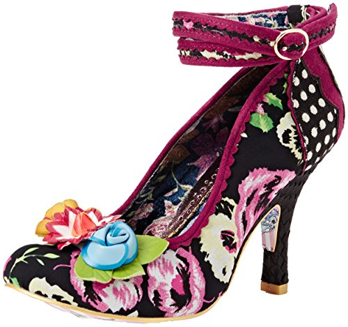 Irregular Choice - Day Dreamer, Strap alla caviglia Donna Black (Black Floral)