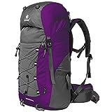 Coreal 50L Hiking Backpack Trekking Rucksack Camping Travel Bag Lightweight Purple