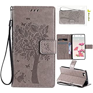 Huawei P8 Lite PU Leather Case, Amcor Love TPU Holster Flip Folio Shell with Lanyard Magnetic Closure Wallet Card Slots Stand Function Slim Cover Protetive Skin Bumper for Huawei P8 Lite 2015