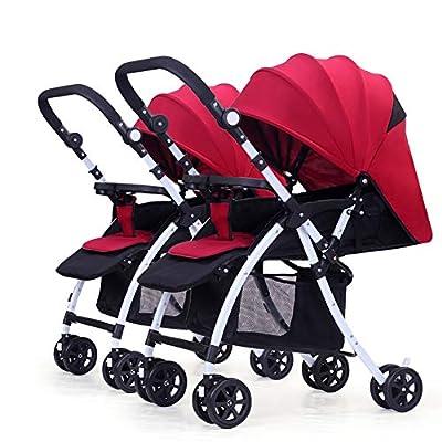 NAUY @ Cochecito de bebé Gemelo, Carro Infantil Doble Desmontable Inversión Carro Plegable Ligero del bebé Manija del Empuje Ajustable Sillas de Paseo