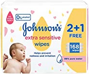 Johnson's Baby Wipes, Extra Sensitive, 98% Pure Water, 56 Wipes (Pack of 3) GI2409
