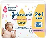 مناديل مبللة فائقة الحساسية للاطفال حديثي الولادة من جونسون، 168 منديل، عبوة واحدة