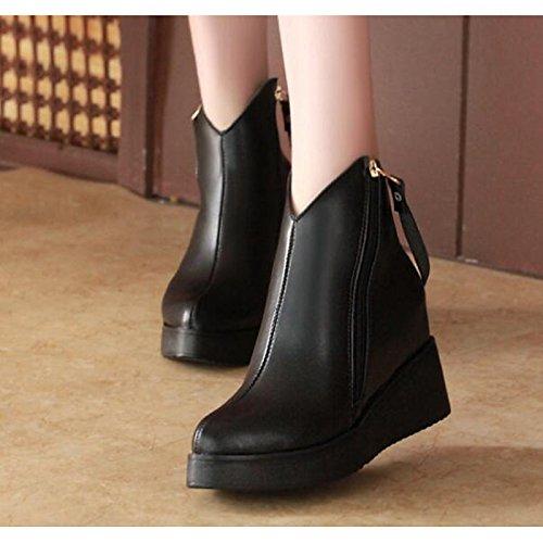 HSXZ Scarpe donna pu molla rientrano la comodità di moda Stivali Stivali scarpe da passeggio Chunky tallone punta Babbucce/Stivaletti Pizzo di cucitura per Black