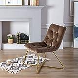 Wahson - Silla de salón de Terciopelo Suave con Patas de Metal Doradas, Silla reclinable para Dormitorio, Sala de Estar y Oficina
